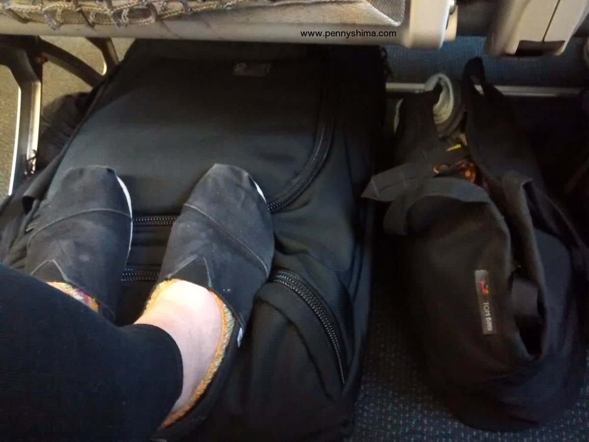 Tom Bihn's Little Swift & Aeronaut 30 fit beautifully under the seat of a regional jet between Budapest and Munich.