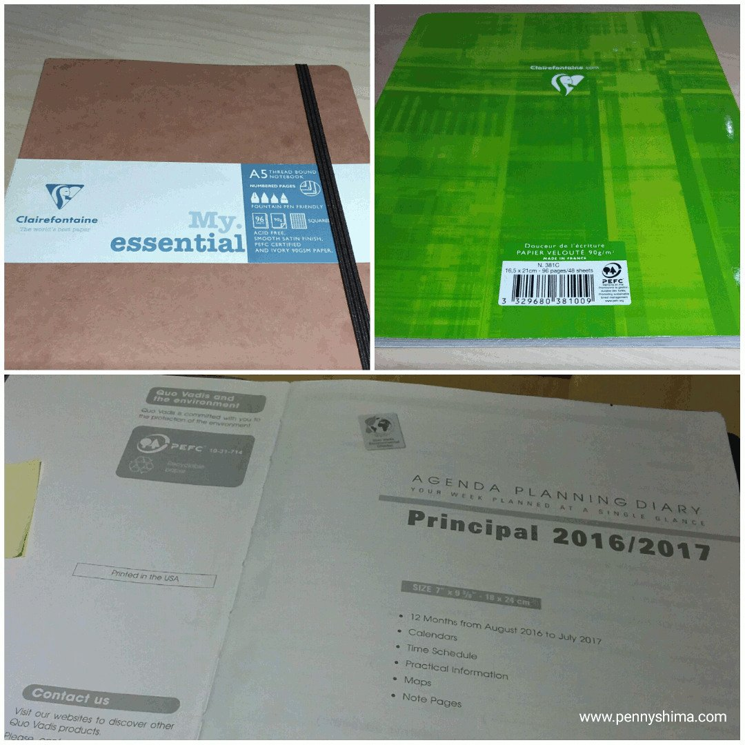 photo collage of Clairefontaine sustainability marks on three different notebooks