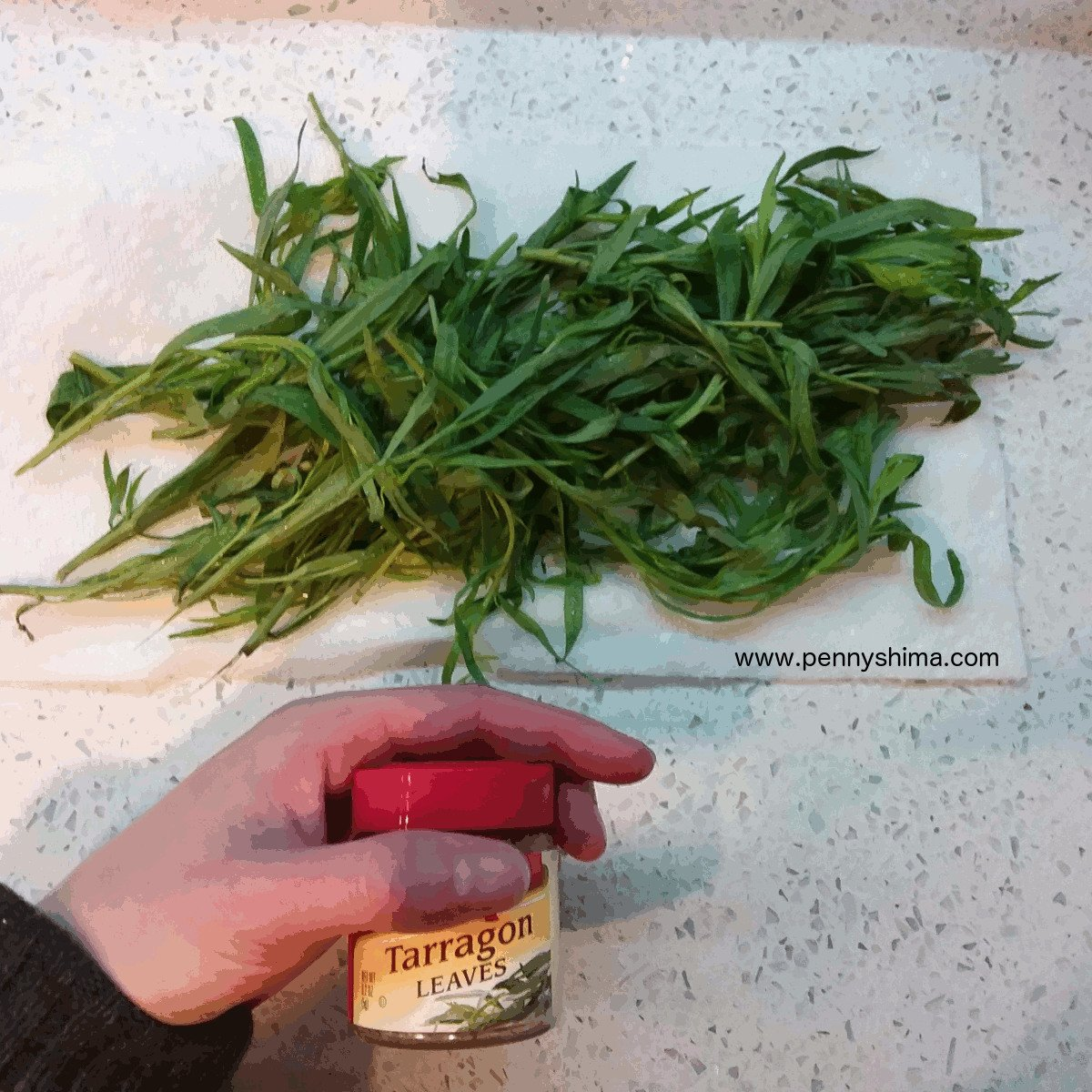 img of fresh tarragon on paper towel and store bought container of tarragon