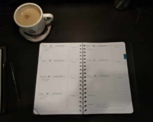 example week of Life Noted Planner, beginning with tea