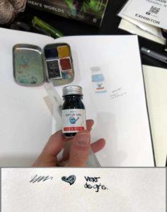 image showing example of herbin vert de gris fountain pen with watercolor pan