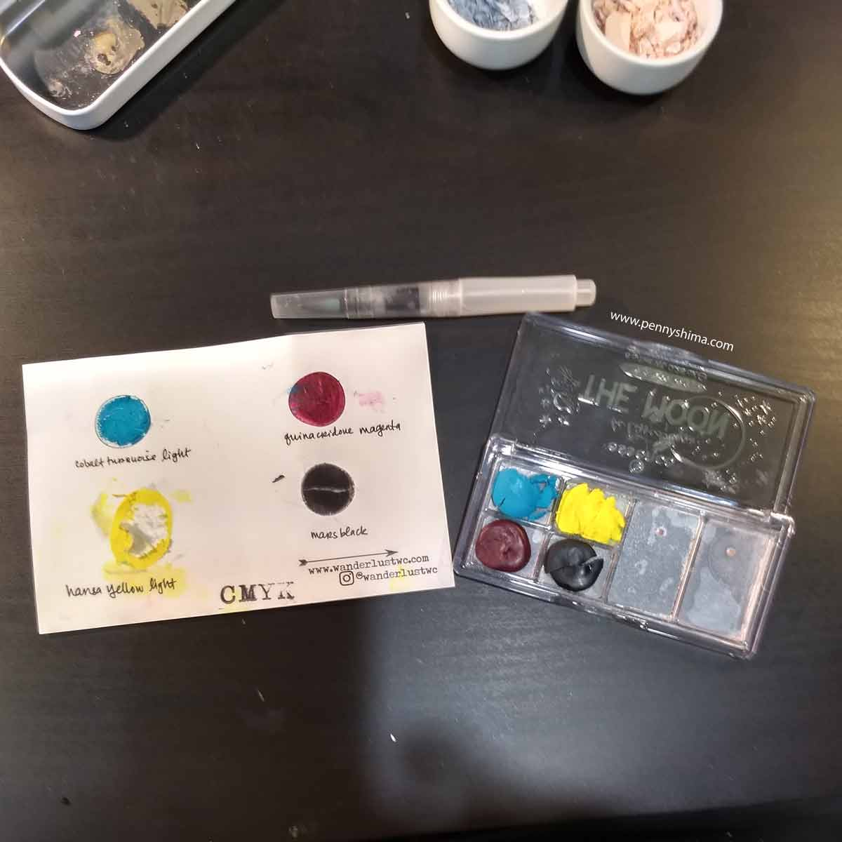 watercolours transferred from the dot card to the new case
