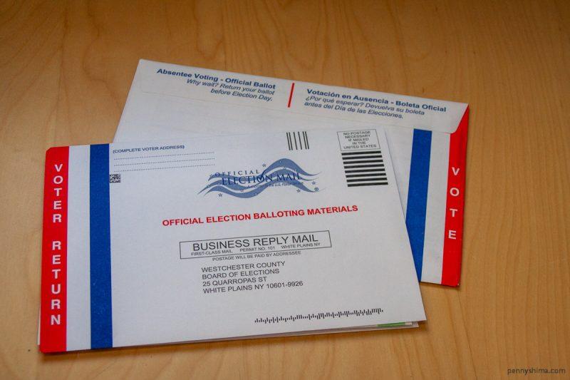 Two NYS Absentee ballot envelopes