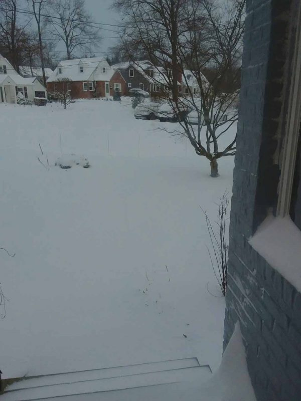 view out front door of unshoveled front walk and snow covered yard and street.