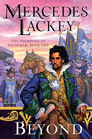 Cover: Beyond The Founding of Valdemar. A man with a blue badge and a white winged horse is prominent.