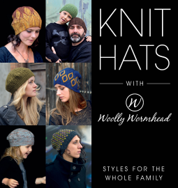 Cover for Knit Hats by Woolly Wormhead. Shows 6 designs in collage.